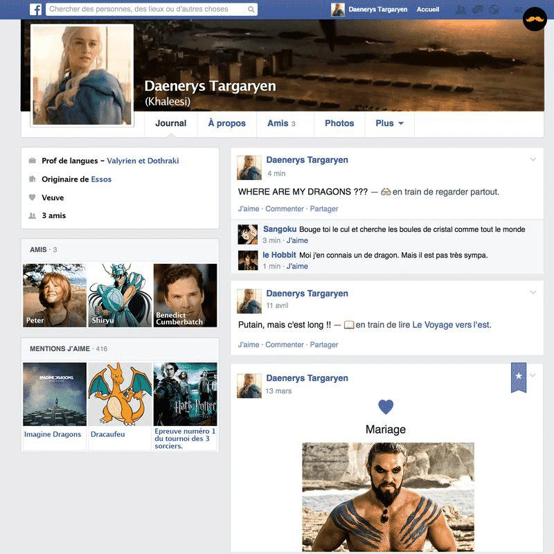 Game Of Thrones Saison 5 Découvrez Le Profil Facebook Des Personnages1