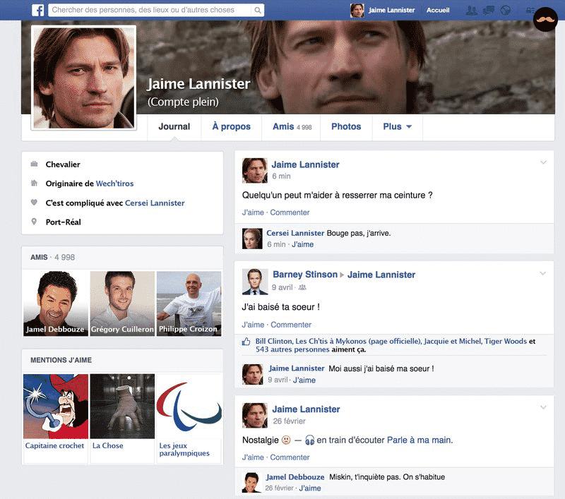 Game Of Thrones Saison 5 Découvrez Le Profil Facebook Des Personnages3