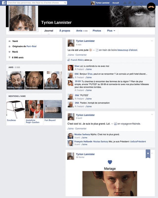 Game Of Thrones Saison 5 Découvrez Le Profil Facebook Des Personnages7