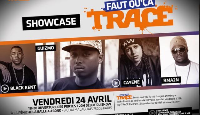 Guizmo, Cayene, Rma2n et Black Kent: têtes d'affiche du Showcase « Faut Qu'ça Trace » ce soir
