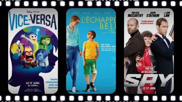 Sorties ciné: Vice-Versa, Spy, L'échappée Belle...découvrez les films de la semaine