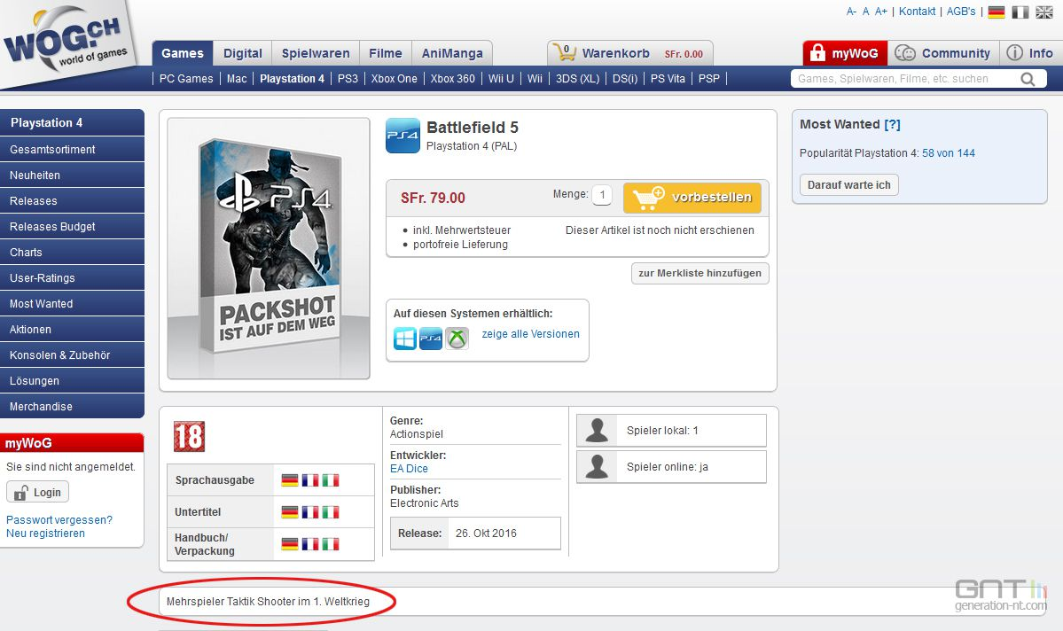 Battlefield 5 serait selon ce site un jeu sur la Premiere Guerre Mondiale