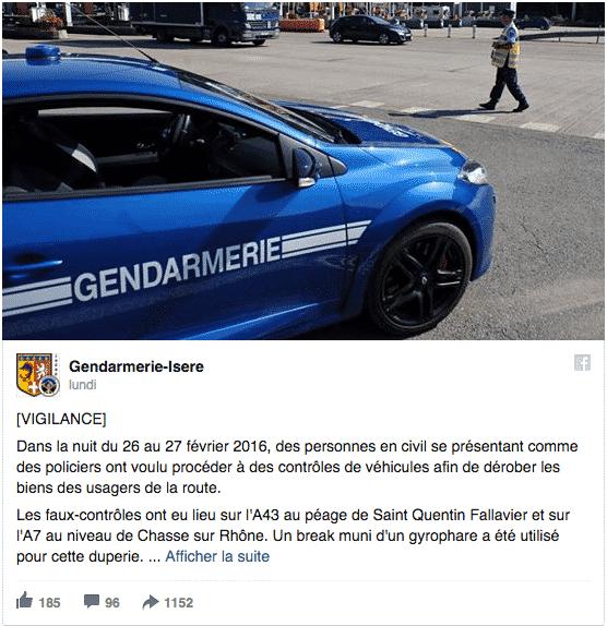 Isère- des braqueurs s'attaquent à des vacanciers déguisés en gendarme