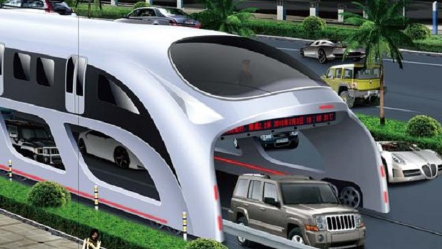 Bouchon: les chinois inventent un bus qui enjambe les voitures!