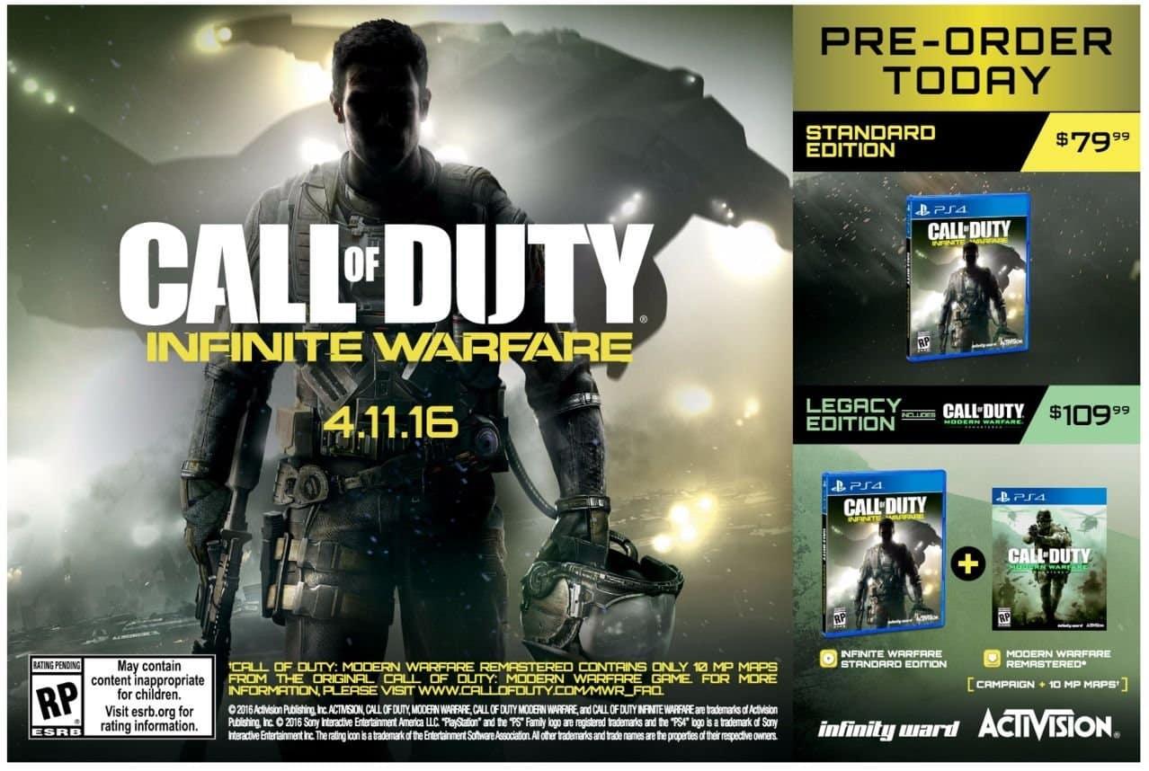 Call Of Duty: Infinite Warfare se trouve une date de sortie et des prix