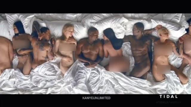 Rihanna, Kim Kardashian, Amber Rose et Chris Brown totalement nus dans le même lit, dans le clip de « Famous » de Kanye West