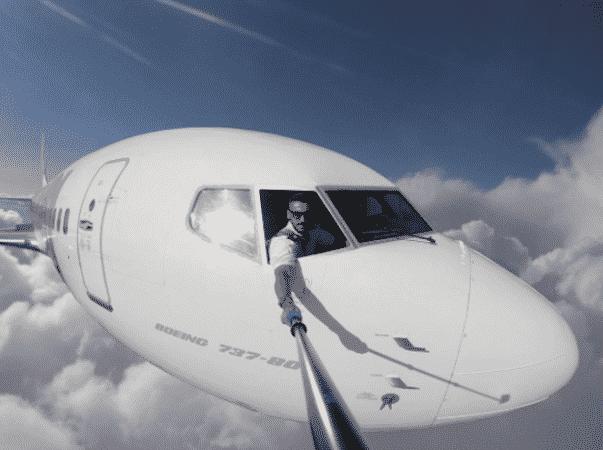 Selfie hors du cockpit