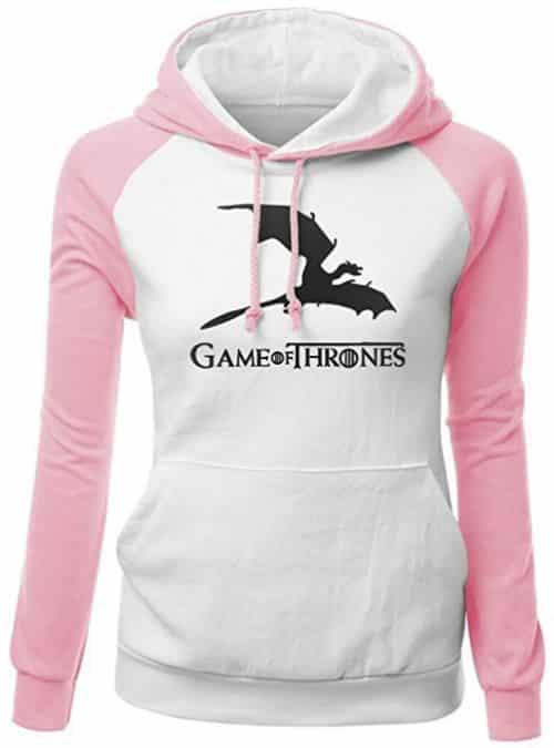 6 Si votre maman est frileuse même en été, offrez lui ce Sweatshirt à Capuche Manches Longues blanc et rose