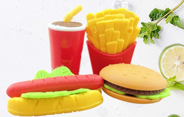 6 Un ensemble de gomme burger, frite, boisson qui font penser à ce que tu manges dans ton fast-food préféré