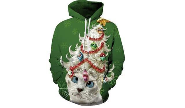14 Au lieu du gros pull en laine, et si cette année vous preniez un hoodie. Ce chat déjanté va impressionner vos amis