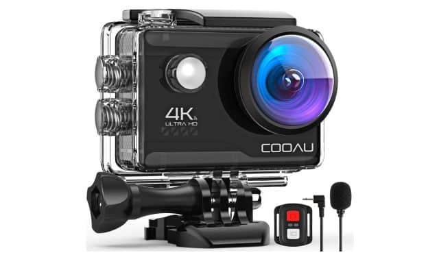 18 COOAU Caméra Sport 4K 20MP avec Wi-FI Microphone Externe Télécommande stabilisateur EIS, Caméra d'action Étanche 40M avec 2X1200mAh Piles et 20 Accessoires pour le Black Friday Amazon