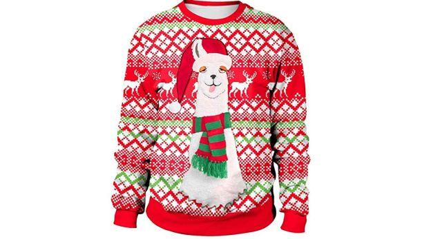 2 Tu n'es pas du tout du matin, porte ce pull moche de Noël d'un cerf mal réveillé