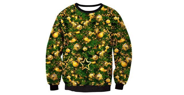 3 C'est certain un des plus moches de nos pulls moches de Noël. Ce modèle sapin et boule de Noël va faire beaucoup rire
