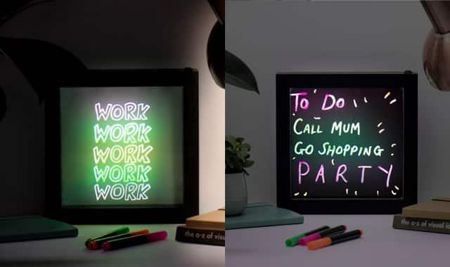 Mini ardoise lumineuse effet néon. Pour illuminer les soirées de mots doux ou de mantras au choix