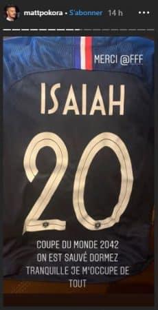 M Pokora papa il dévoile le premier maillot de foot de son fils Isaiah !