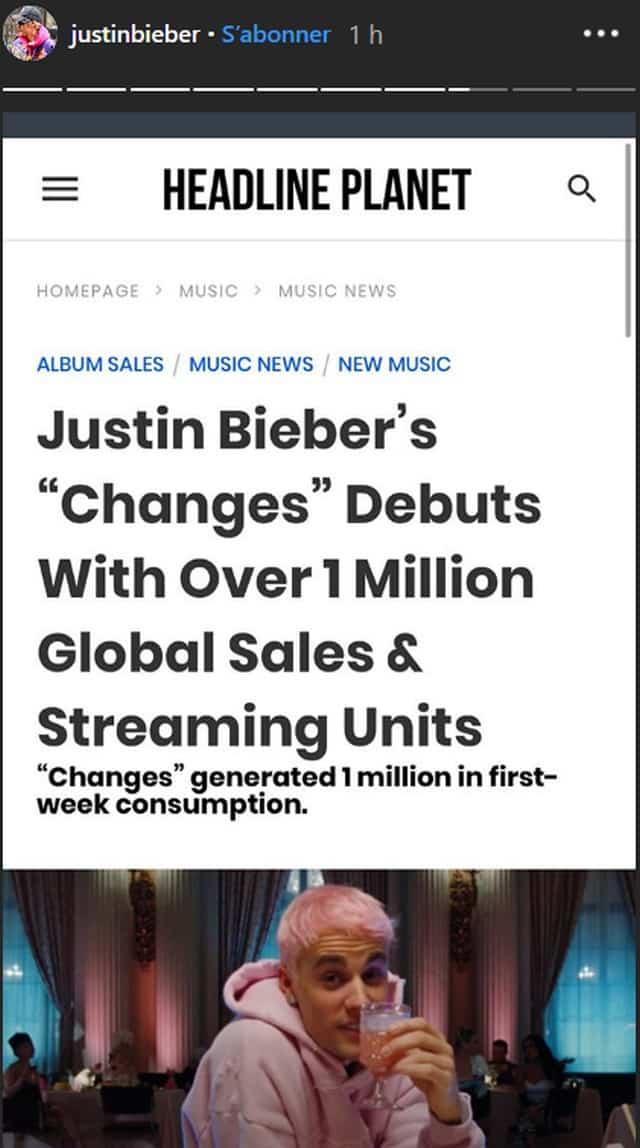 """Justin Bieber: """"Changes"""" fait un million de ventes dans le monde !"""
