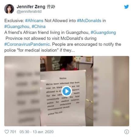 Chine McDonald's s'excuse pour avoir interdit l'accès d'un restaurant aux Noirs