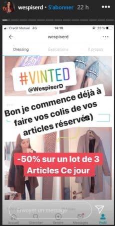 La chroniqueuse vend ses vêtements sur Vinted