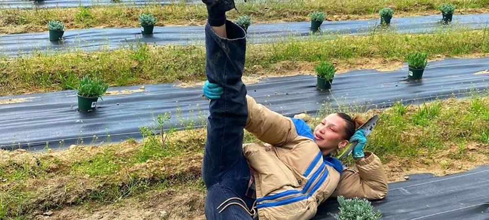 Bella Hadid profite du confinement pour jardiner à la ferme1000