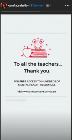 Camila Cabello remercie les enseignants pour leur dévouement !