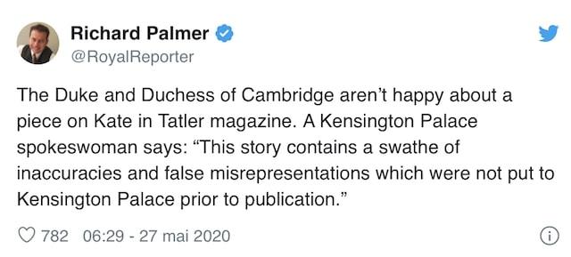 Kate Middleton folle de rage après la parution d'un article sur elle !