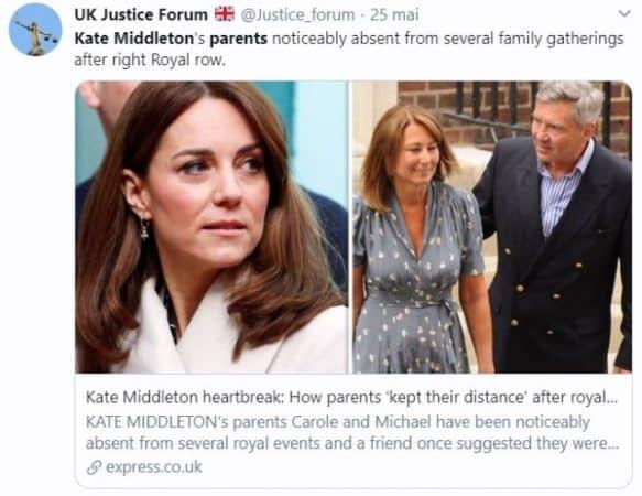 Kate Middleton ses parents ne sont pas du tout bienvenus à Buckingham !