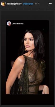Kendall Jenner dévoile ses tétons das un haut noir transparent 640