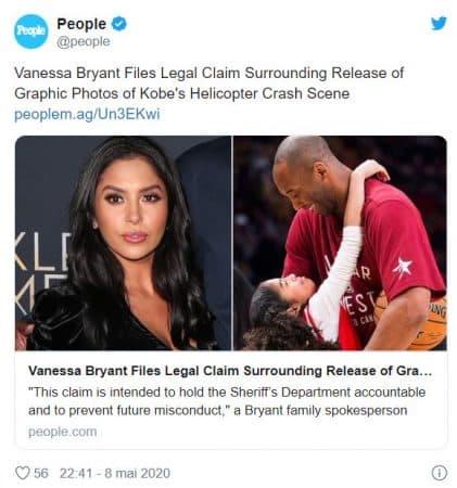 Kobe Bryant Vanessa Bryant attaque en justice le bureau du shérif !