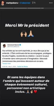 M Pokora remercie Emmanuel Macron sur Instagram !