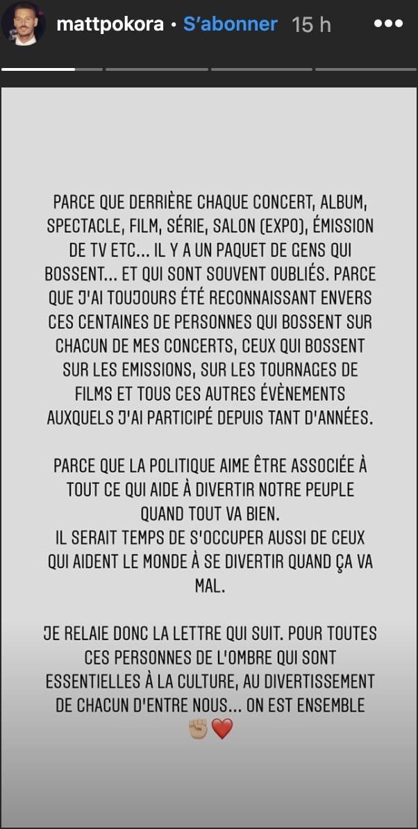 M Pokora: son message fort à tous les acteurs de la culture en France !