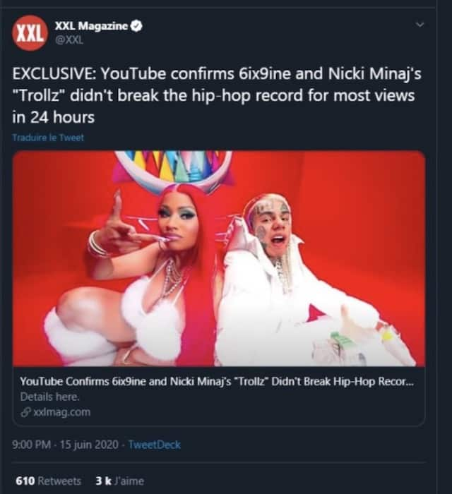 6ix9ine et Nicki Minaj: YouTube dément leur record avec «Trollz» !