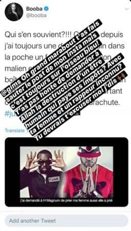 Booba s'en prend encore à son rival Maître Gims sur Instagram !