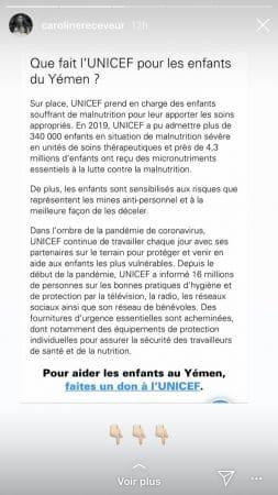 Caroline Receveur bouleversée par la crise humanitaire au Yémen !