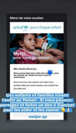 Caroline Receveur: son généreux don pour les enfants du Yémen !