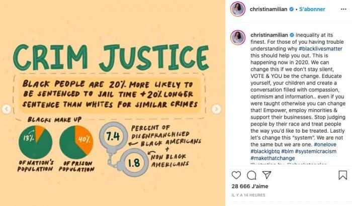 Christina Milian (M Pokora) s'indigne contre les inégalités raciales !