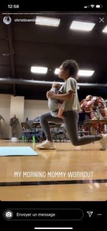 Christina Milian s'entraîne avec son petit Isaiah dans les bras 640