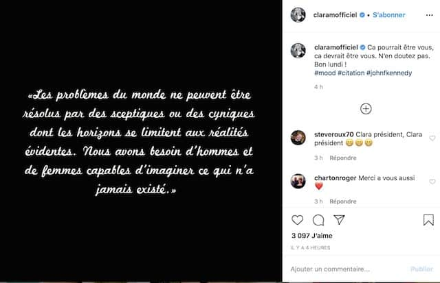 Clara Morgane tacle le gouvernement en place sur Instagram !