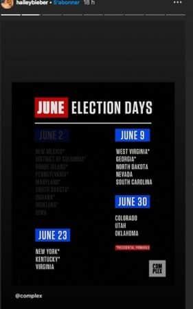 Hailey Baldwin demande à ses abonnés d'aller voter aux primaires !