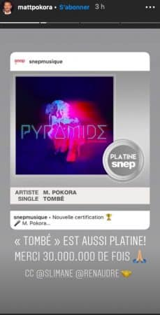 "M Pokora: son tube ""Tombé"" certifié single de platine !"
