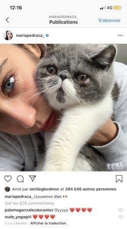 María Pedraza pose avec son adorable chat et fait fondre la Toile !