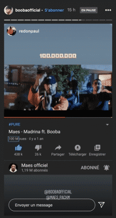 """Booba dépasse les 100 millions de vues avec """"Madrina"""" avec Maes !"""