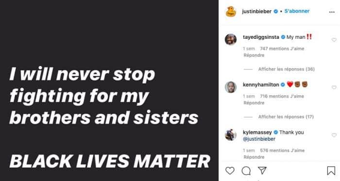 Justin Bieber continue le combat du Black Lives Matter sur Instagram !