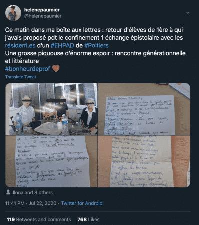 Lycée des lycéens rencontrent des résidents d'Ehpad grâce au Covid19 article