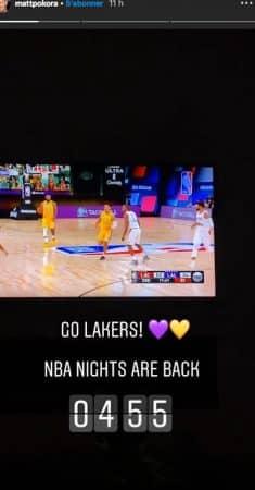 M Pokora supporte l'équipe des Lakers jusqu'au bout de la nuit !