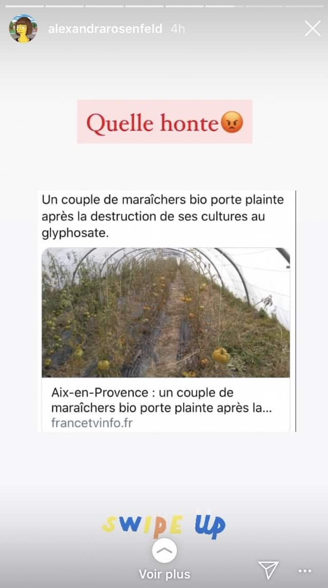 Alexandra Rosenfeld soutient les maraîchers bio agressés au glyphosate !