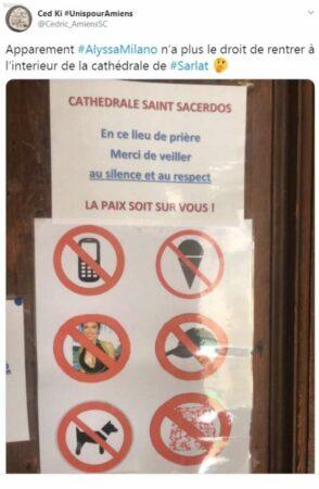 Alyssa Milano interdite de rentrer dans une cathédrale à Sarlat ?