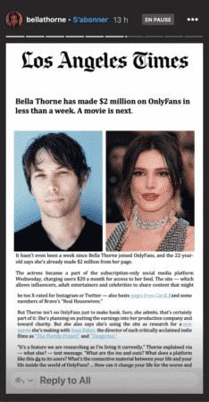 Bella Thorne remporte plus de 2 millions de dollars sur OnlyFans !