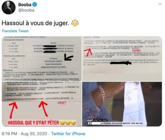 Booba va plus loin et dévoile le casier judiciaire de son ennemi La Fouine !