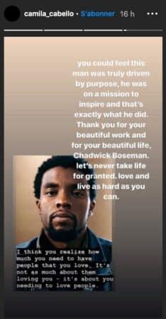 Camila Cabello fait un très bel hommage à Chadwick Boseman sur Instagram !