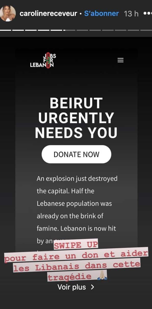 Caroline Receveur: elle lance un appel pour aider les victimes au Liban !